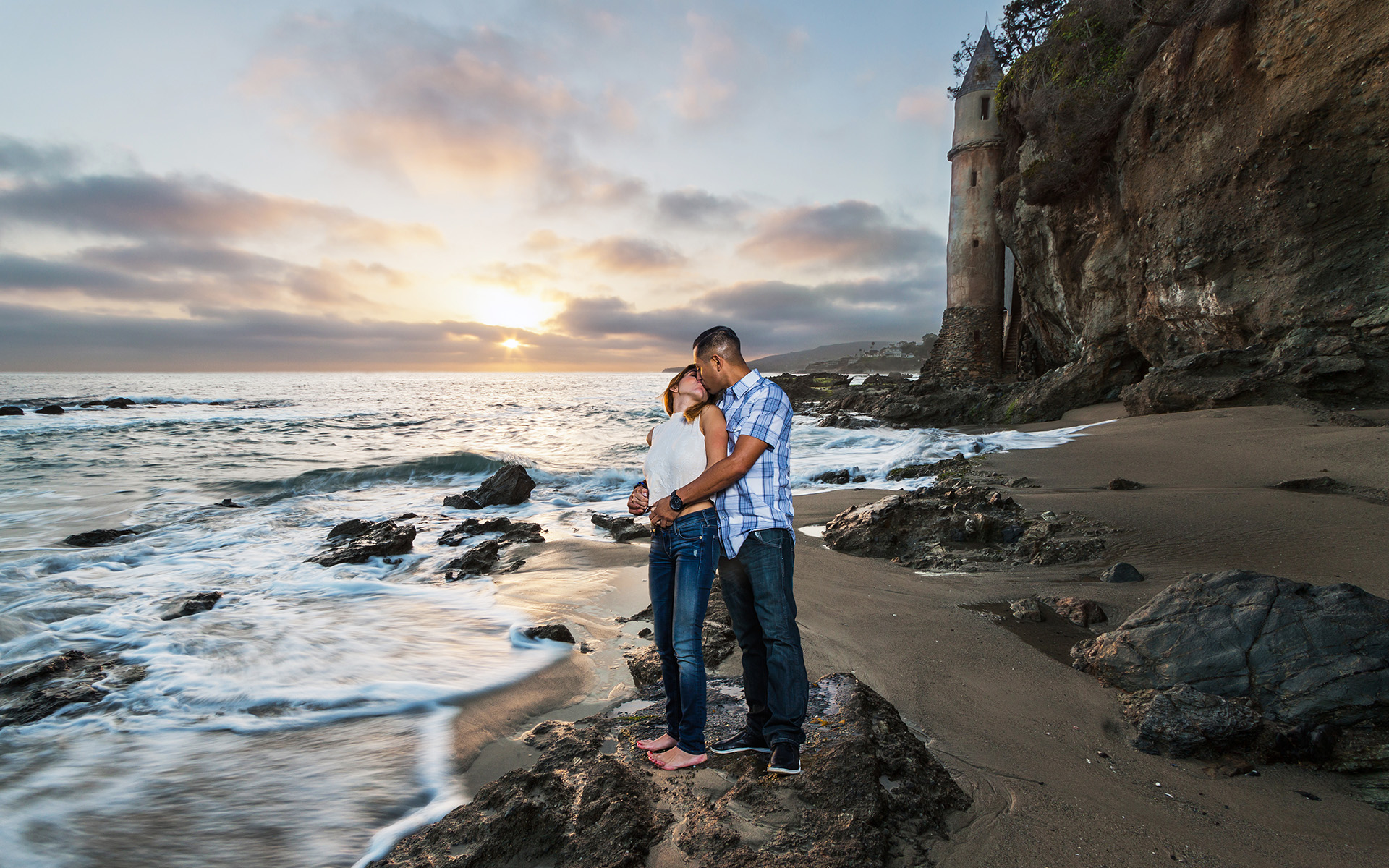 engagement couple at laguna beach victoria lighthouse sunset